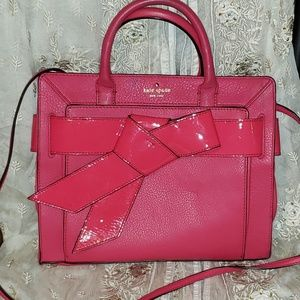 Kate Spade Pebbled Leather Patent Bow Shoulder Bag